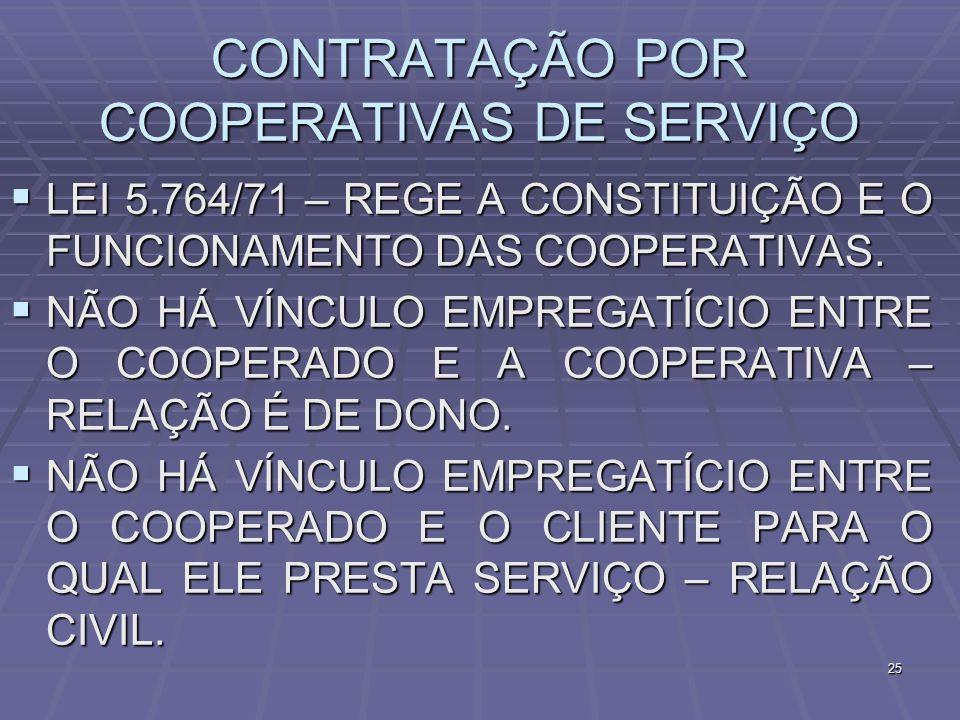 25 CONTRATAÇÃO POR COOPERATIVAS DE SERVIÇO LEI 5.764/71 – REGE A CONSTITUIÇÃO E O FUNCIONAMENTO DAS COOPERATIVAS. LEI 5.764/71 – REGE A CONSTITUIÇÃO E