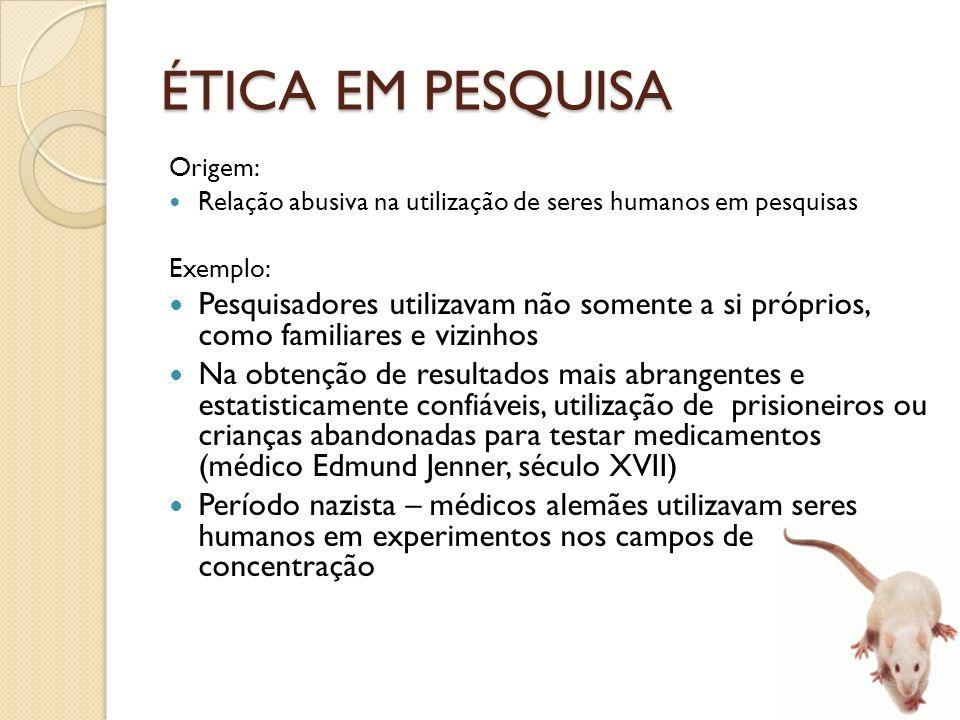Origem: Relação abusiva na utilização de seres humanos em pesquisas Exemplo: Pesquisadores utilizavam não somente a si próprios, como familiares e viz