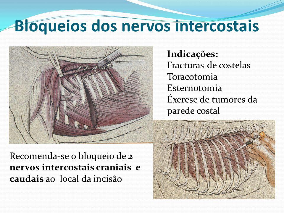 Bloqueios dos nervos intercostais Indicações: Fracturas de costelas Toracotomia Esternotomia Éxerese de tumores da parede costal Recomenda-se o bloque