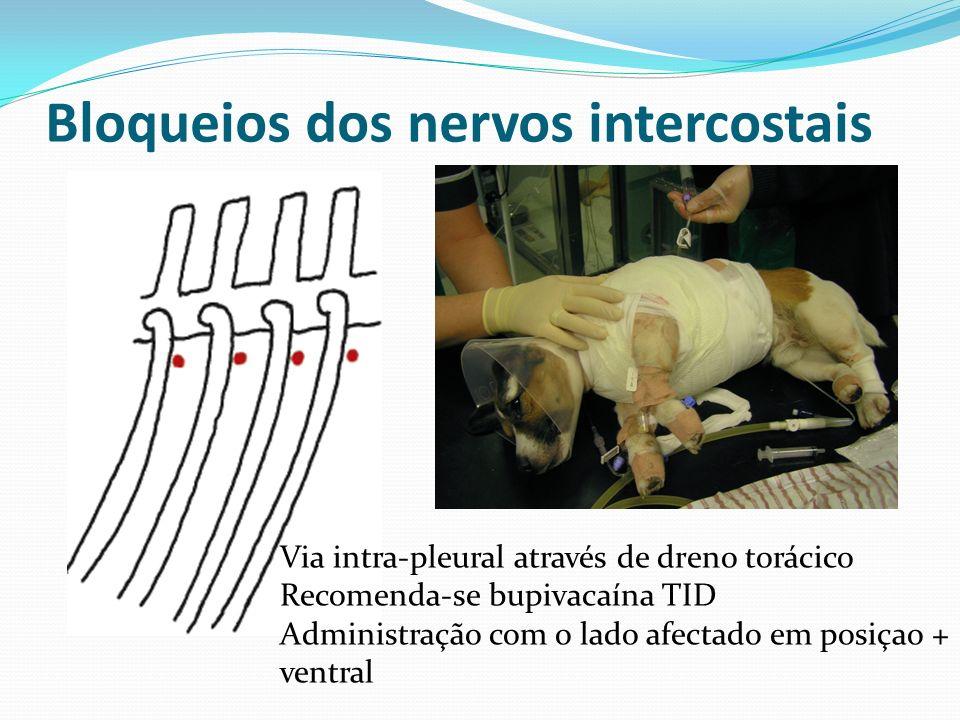 Bloqueios dos nervos intercostais Via intra-pleural através de dreno torácico Recomenda-se bupivacaína TID Administração com o lado afectado em posiça
