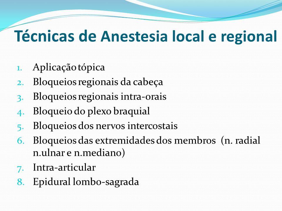 Técnicas de Anestesia local e regional 1. Aplicação tópica 2. Bloqueios regionais da cabeça 3. Bloqueios regionais intra-orais 4. Bloqueio do plexo br
