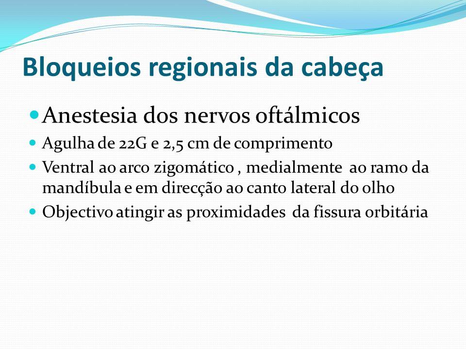 Bloqueios regionais da cabeça Anestesia dos nervos oftálmicos Agulha de 22G e 2,5 cm de comprimento Ventral ao arco zigomático, medialmente ao ramo da