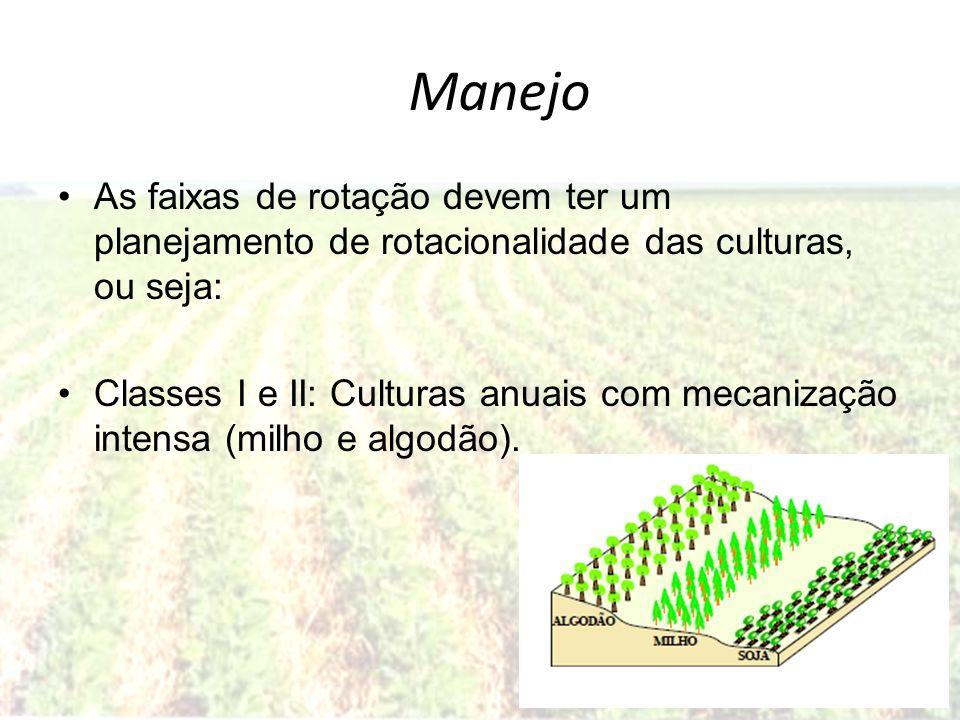 Manejo As faixas de rotação devem ter um planejamento de rotacionalidade das culturas, ou seja: Classes I e II: Culturas anuais com mecanização intens
