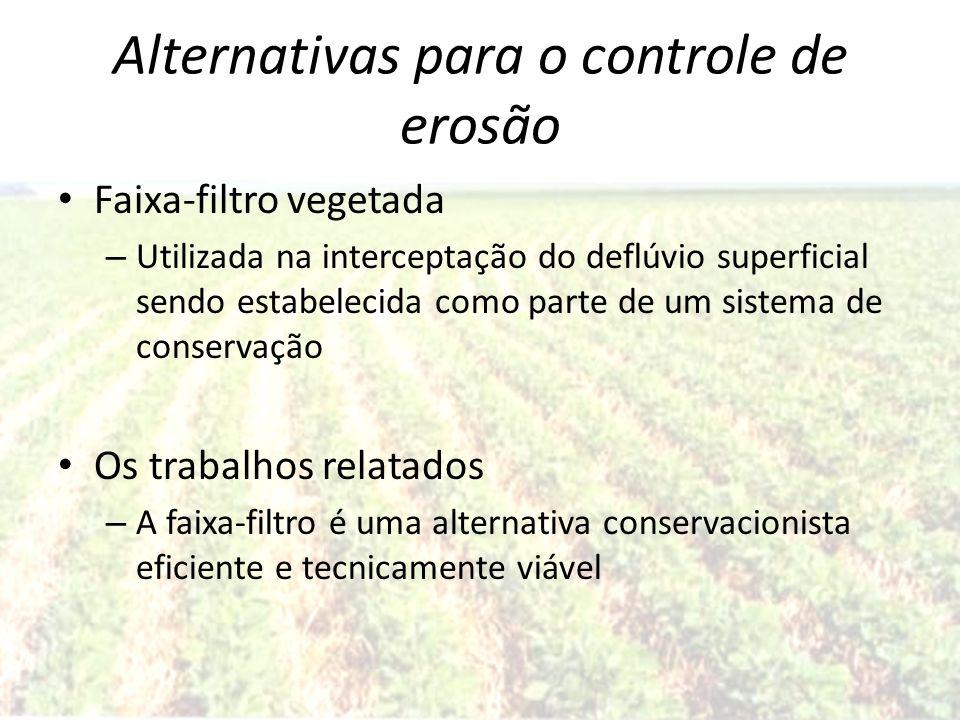 Alternativas para o controle de erosão Faixa-filtro vegetada – Utilizada na interceptação do deflúvio superficial sendo estabelecida como parte de um