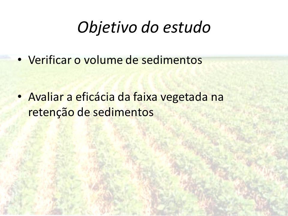 Objetivo do estudo Verificar o volume de sedimentos Avaliar a eficácia da faixa vegetada na retenção de sedimentos