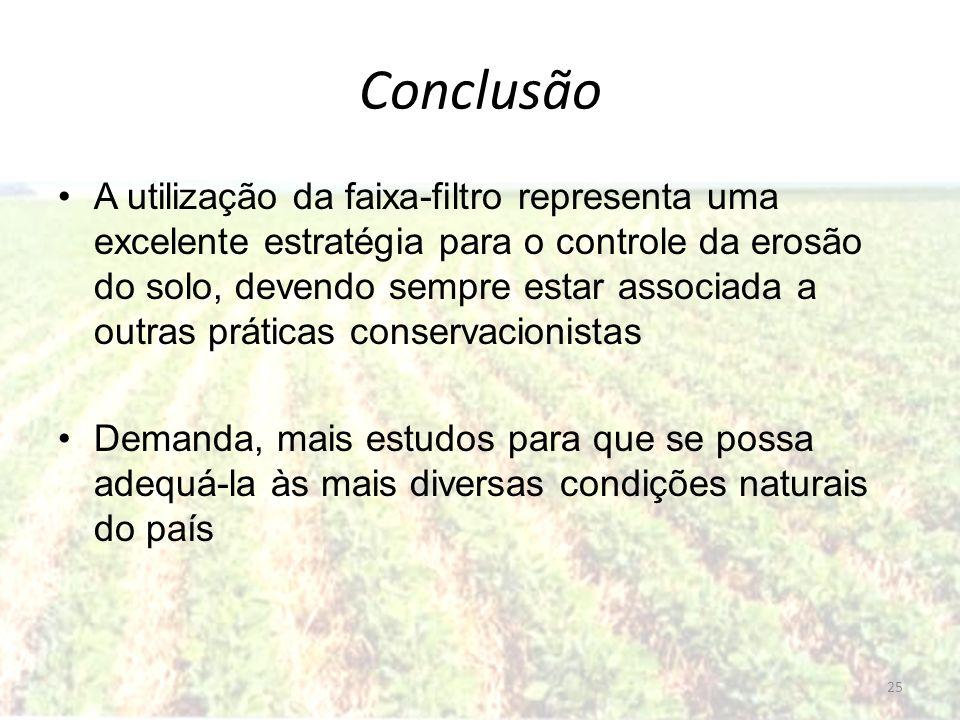 Conclusão A utilização da faixa-filtro representa uma excelente estratégia para o controle da erosão do solo, devendo sempre estar associada a outras