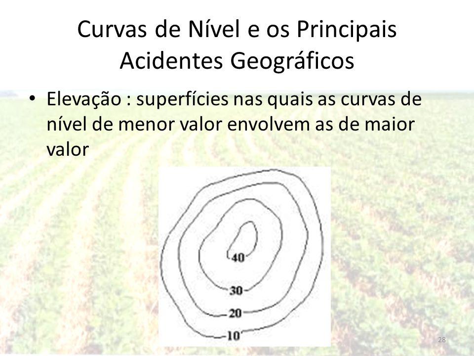 Curvas de Nível e os Principais Acidentes Geográficos Elevação : superfícies nas quais as curvas de nível de menor valor envolvem as de maior valor 28