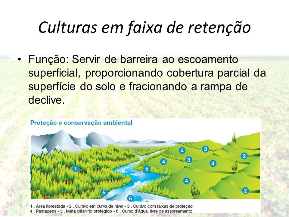 Culturas em faixa de retenção Função: Servir de barreira ao escoamento superficial, proporcionando cobertura parcial da superfície do solo e fracionan