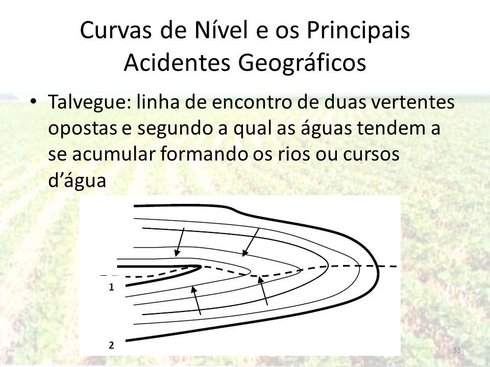Curvas de Nível e os Principais Acidentes Geográficos Talvegue: linha de encontro de duas vertentes opostas e segundo a qual as águas tendem a se acum