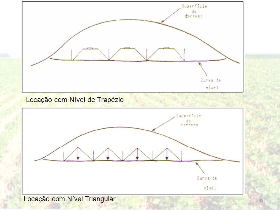 Locação com Nível de Trapézio Locação com Nível Triangular 45