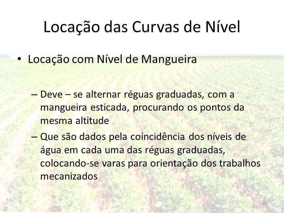 Locação das Curvas de Nível Locação com Nível de Mangueira – Deve – se alternar réguas graduadas, com a mangueira esticada, procurando os pontos da me