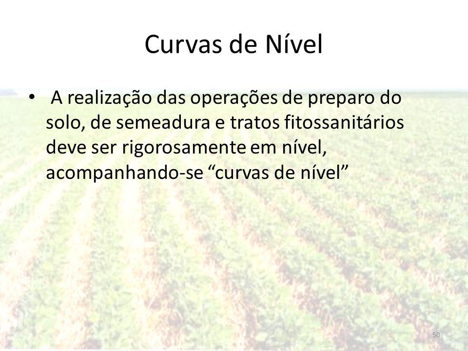 Curvas de Nível A realização das operações de preparo do solo, de semeadura e tratos fitossanitários deve ser rigorosamente em nível, acompanhando-se