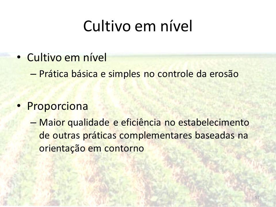 Cultivo em nível – Prática básica e simples no controle da erosão Proporciona – Maior qualidade e eficiência no estabelecimento de outras práticas com