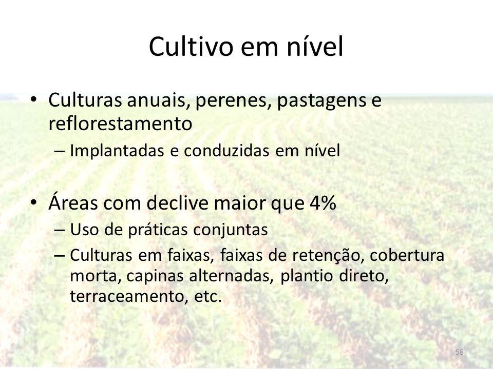 Cultivo em nível Culturas anuais, perenes, pastagens e reflorestamento – Implantadas e conduzidas em nível Áreas com declive maior que 4% – Uso de prá
