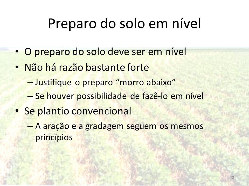 Preparo do solo em nível O preparo do solo deve ser em nível Não há razão bastante forte – Justifique o preparo morro abaixo – Se houver possibilidade