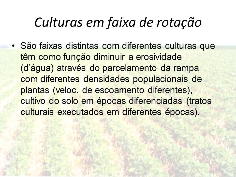 Culturas em faixa de rotação São faixas distintas com diferentes culturas que têm como função diminuir a erosividade (dágua) através do parcelamento d