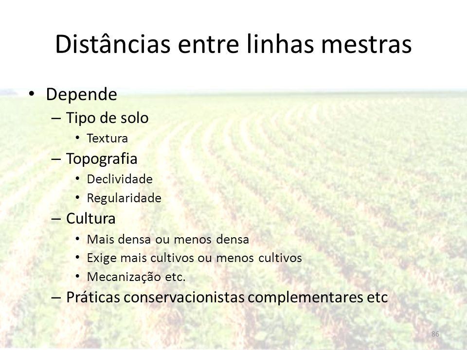 Distâncias entre linhas mestras Depende – Tipo de solo Textura – Topografia Declividade Regularidade – Cultura Mais densa ou menos densa Exige mais cu