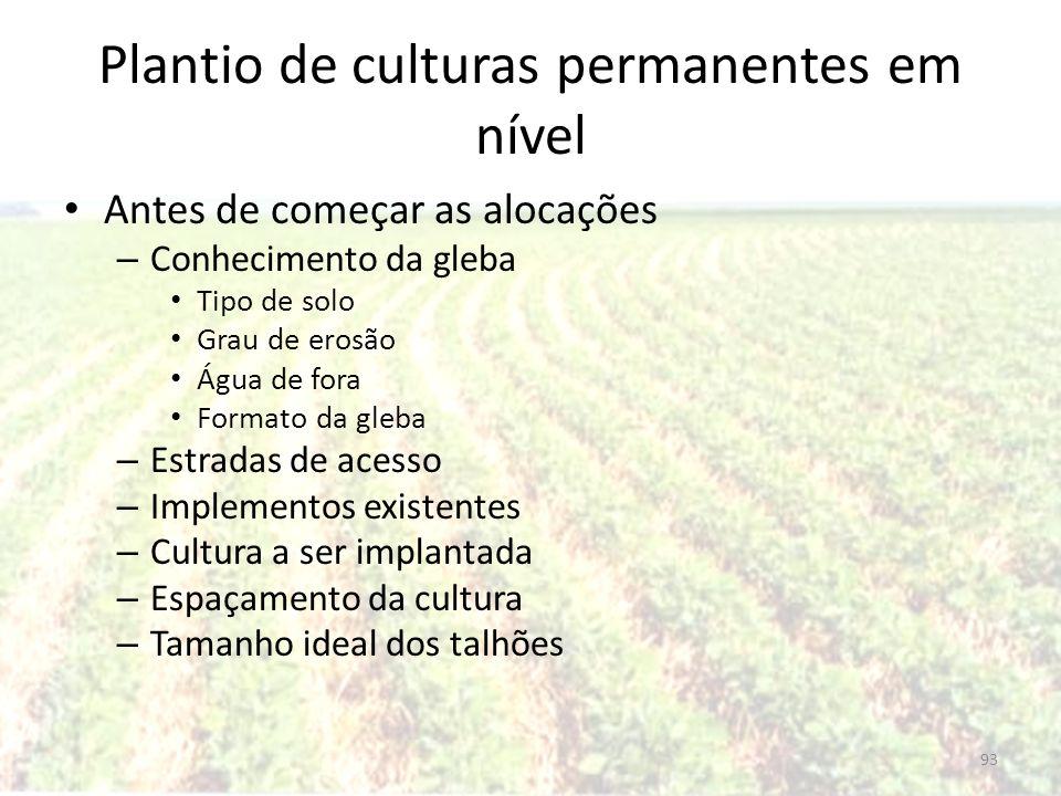 Plantio de culturas permanentes em nível Antes de começar as alocações – Conhecimento da gleba Tipo de solo Grau de erosão Água de fora Formato da gle