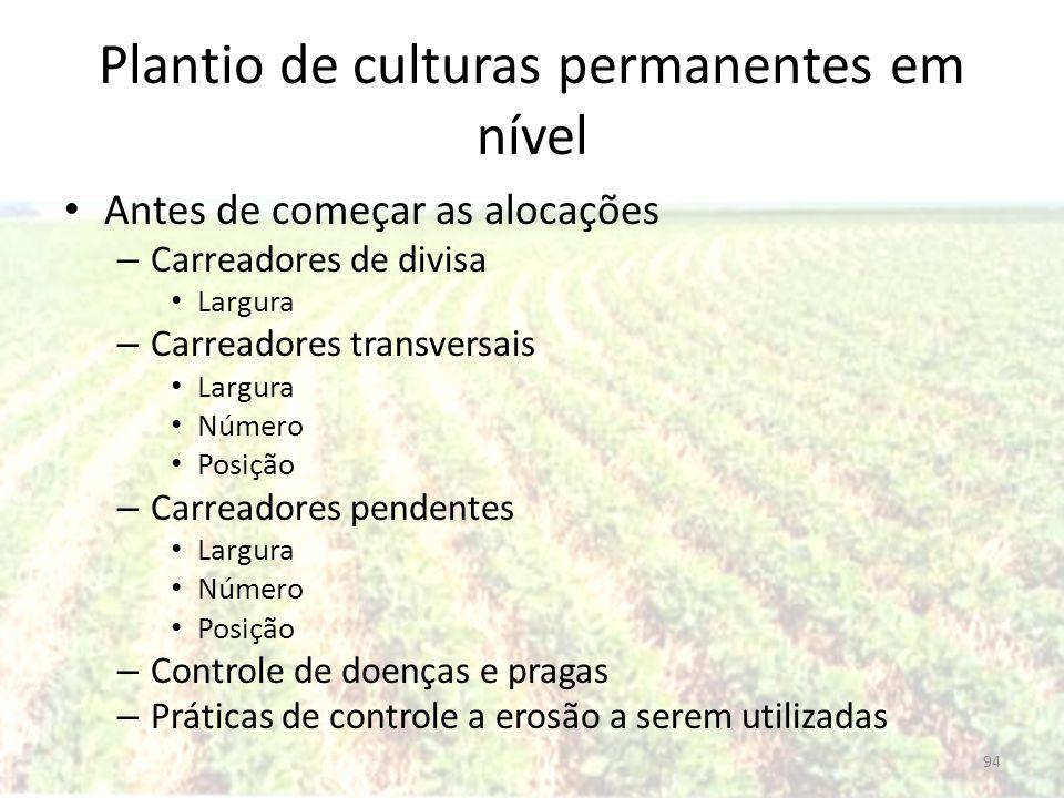 Plantio de culturas permanentes em nível Antes de começar as alocações – Carreadores de divisa Largura – Carreadores transversais Largura Número Posiç