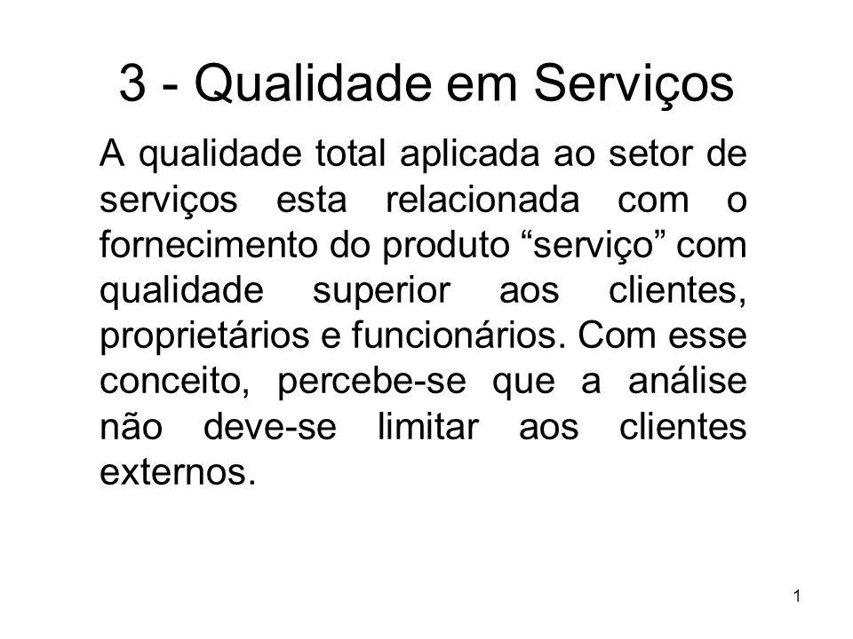 1 3 - Qualidade em Serviços A qualidade total aplicada ao setor de serviços esta relacionada com o fornecimento do produto serviço com qualidade super