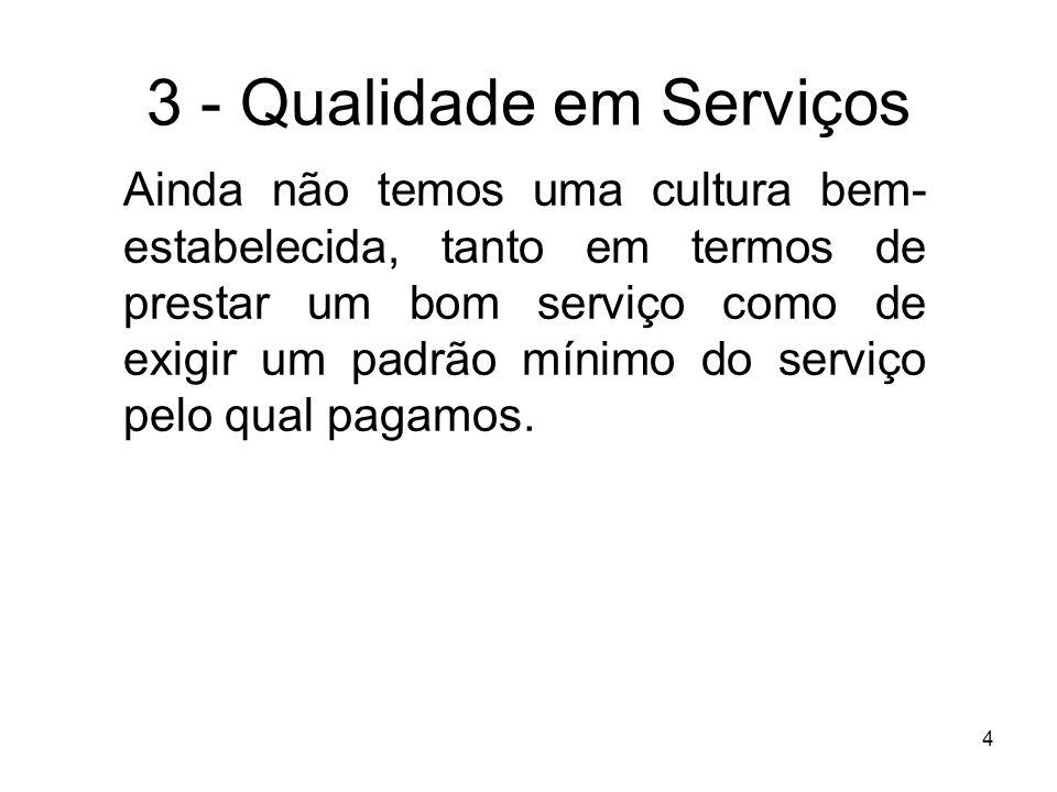 4 3 - Qualidade em Serviços Ainda não temos uma cultura bem- estabelecida, tanto em termos de prestar um bom serviço como de exigir um padrão mínimo d