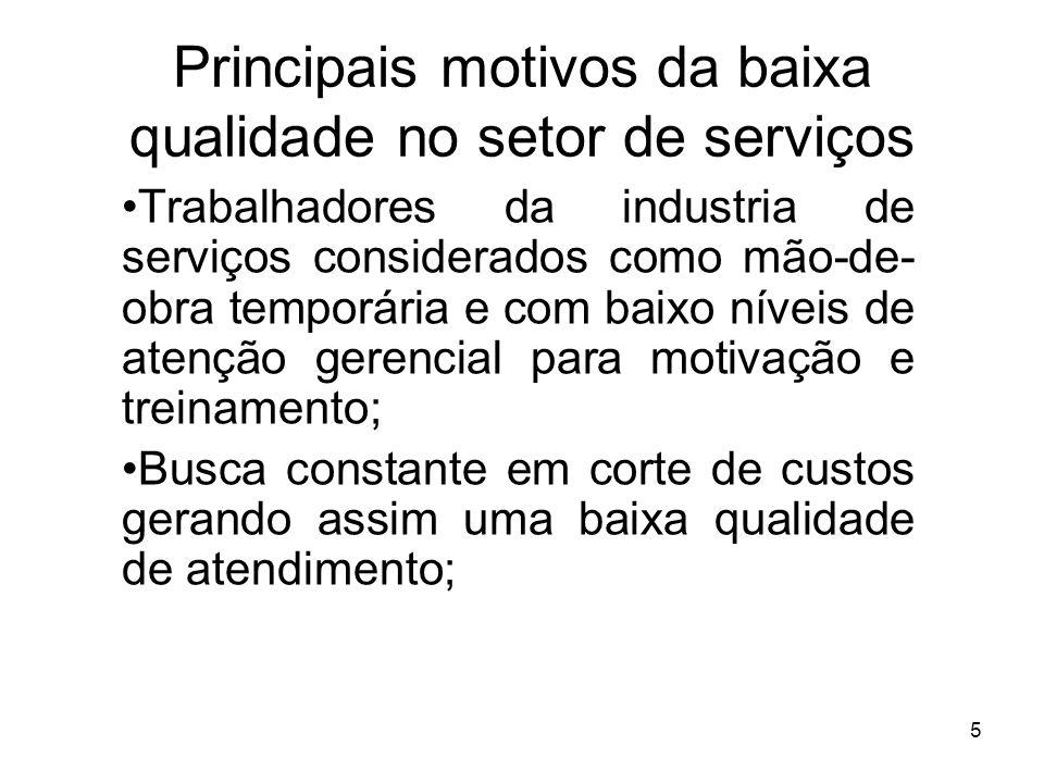 5 Principais motivos da baixa qualidade no setor de serviços Trabalhadores da industria de serviços considerados como mão-de- obra temporária e com ba
