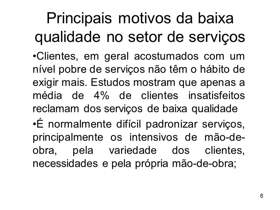 6 Principais motivos da baixa qualidade no setor de serviços Clientes, em geral acostumados com um nível pobre de serviços não têm o hábito de exigir