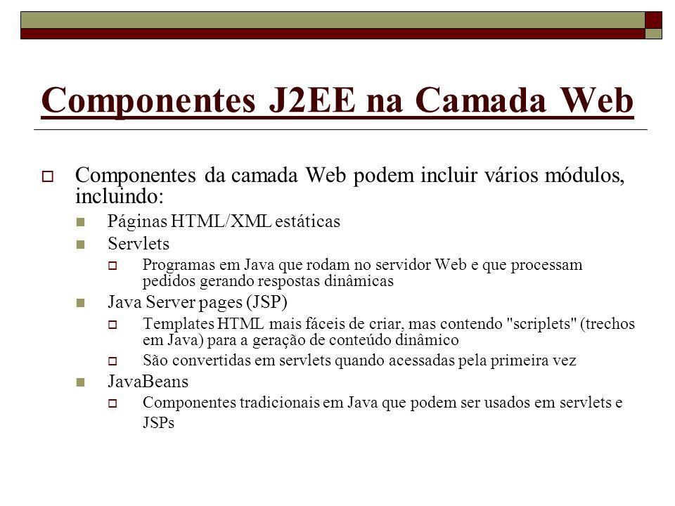 Componentes J2EE na Camada Web Componentes da camada Web podem incluir vários módulos, incluindo: Páginas HTML/XML estáticas Servlets Programas em Jav
