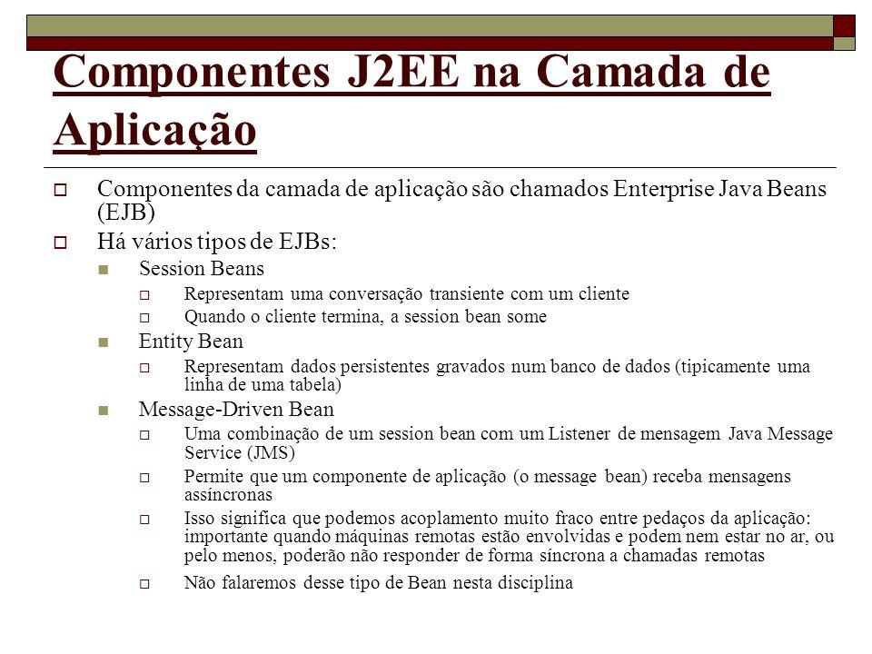 Componentes J2EE na Camada de Aplicação Componentes da camada de aplicação são chamados Enterprise Java Beans (EJB) Há vários tipos de EJBs: Session B