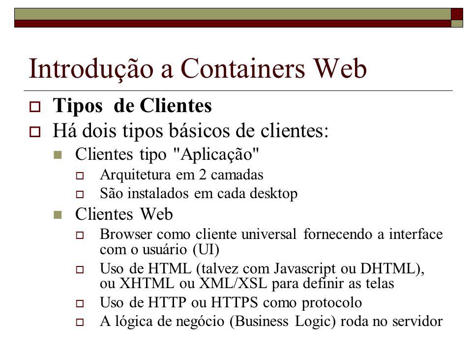 Introdução a Containers Web Tipos de Clientes Há dois tipos básicos de clientes: Clientes tipo