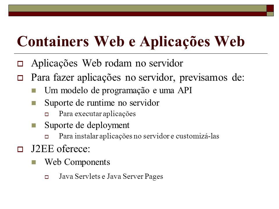 Containers Web e Aplicações Web Aplicações Web rodam no servidor Para fazer aplicações no servidor, previsamos de: Um modelo de programação e uma API