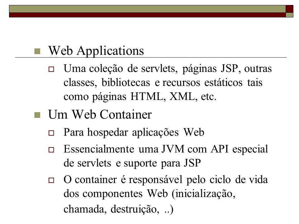Web Applications Uma coleção de servlets, páginas JSP, outras classes, bibliotecas e recursos estáticos tais como páginas HTML, XML, etc. Um Web Conta