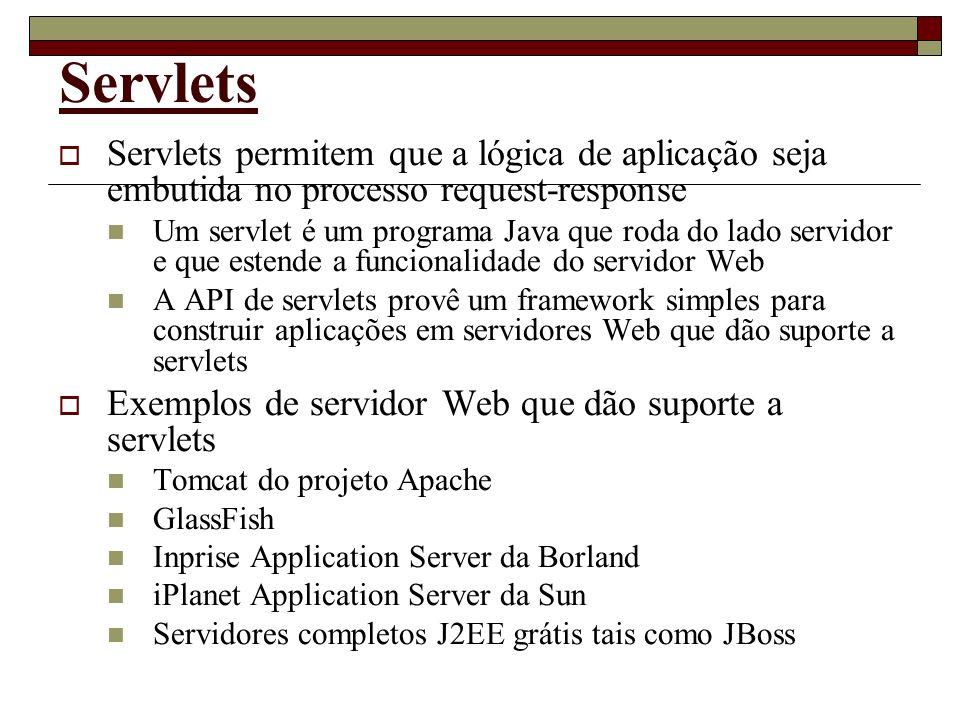 Servlets Servlets permitem que a lógica de aplicação seja embutida no processo request-response Um servlet é um programa Java que roda do lado servido