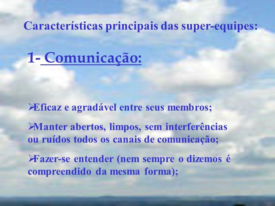 Características principais das super-equipes: 1- Comunicação: Eficaz e agradável entre seus membros; Manter abertos, limpos, sem interferências ou ruí
