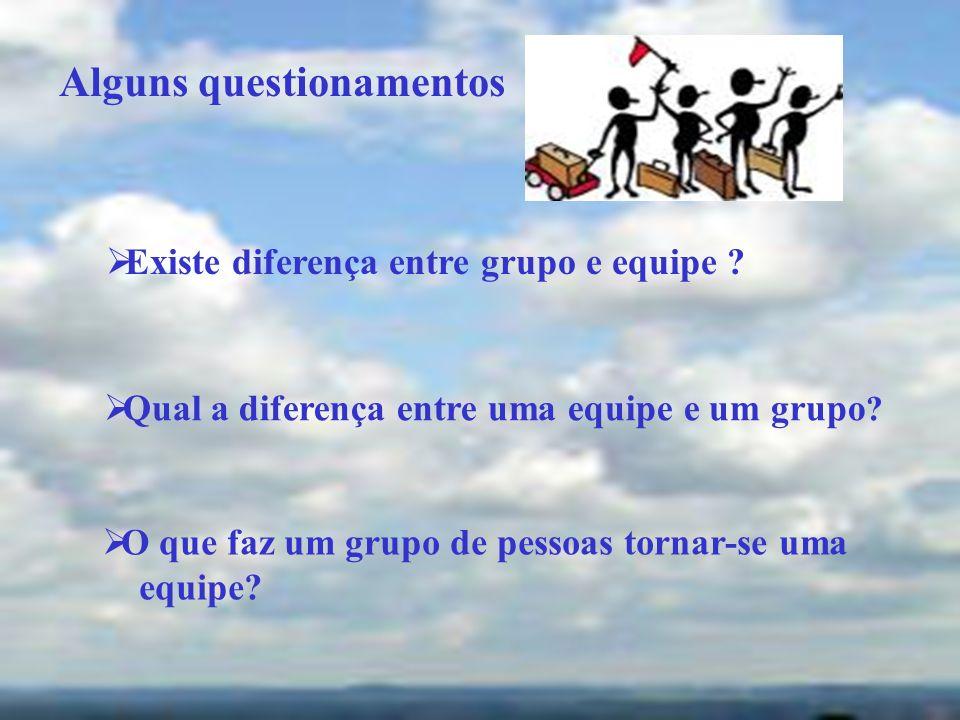 Existe diferença entre grupo e equipe ? Qual a diferença entre uma equipe e um grupo ? O que faz um grupo de pessoas tornar-se uma equipe? Alguns ques
