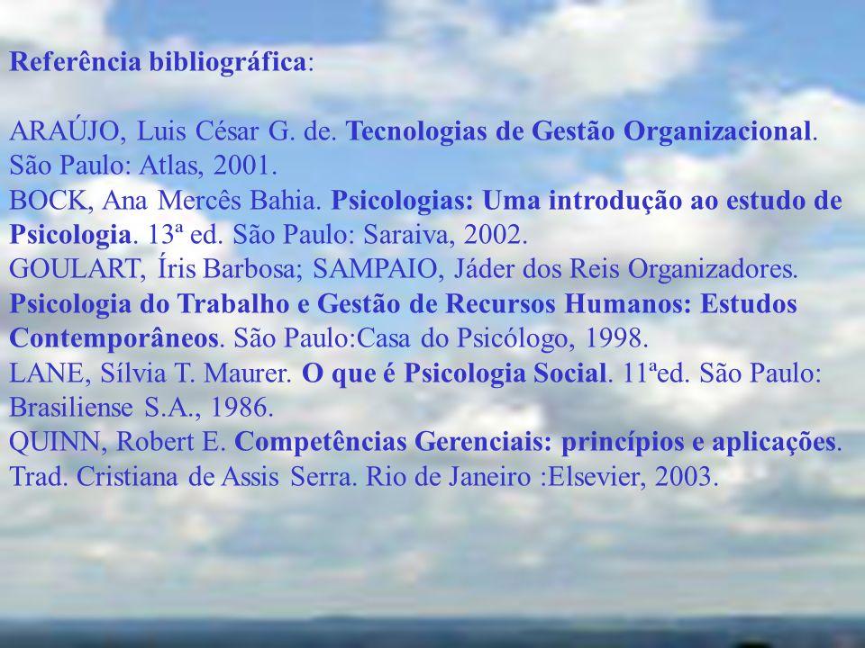 Referência bibliográfica: ARAÚJO, Luis César G. de. Tecnologias de Gestão Organizacional. São Paulo: Atlas, 2001. BOCK, Ana Mercês Bahia. Psicologias: