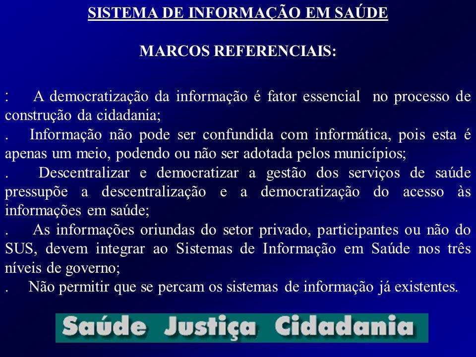 SISTEMA DE INFORMAÇÃO EM SAÚDE MARCOS REFERENCIAIS:.. A democratização da informação é fator essencial no processo de construção da cidadania;. Inform
