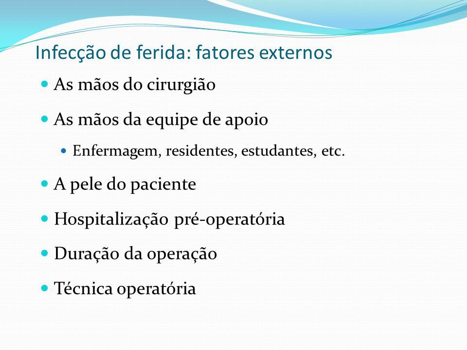 Infecção de ferida: fatores externos As mãos do cirurgião As mãos da equipe de apoio Enfermagem, residentes, estudantes, etc. A pele do paciente Hospi
