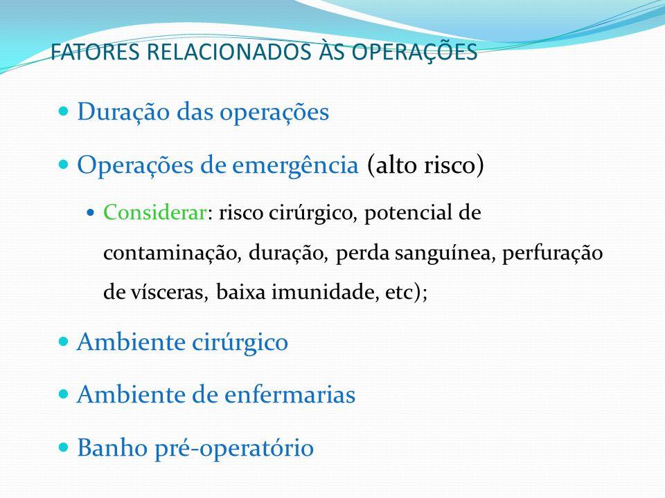 FATORES RELACIONADOS ÀS OPERAÇÕES Duração das operações Operações de emergência (alto risco) Considerar: risco cirúrgico, potencial de contaminação, d