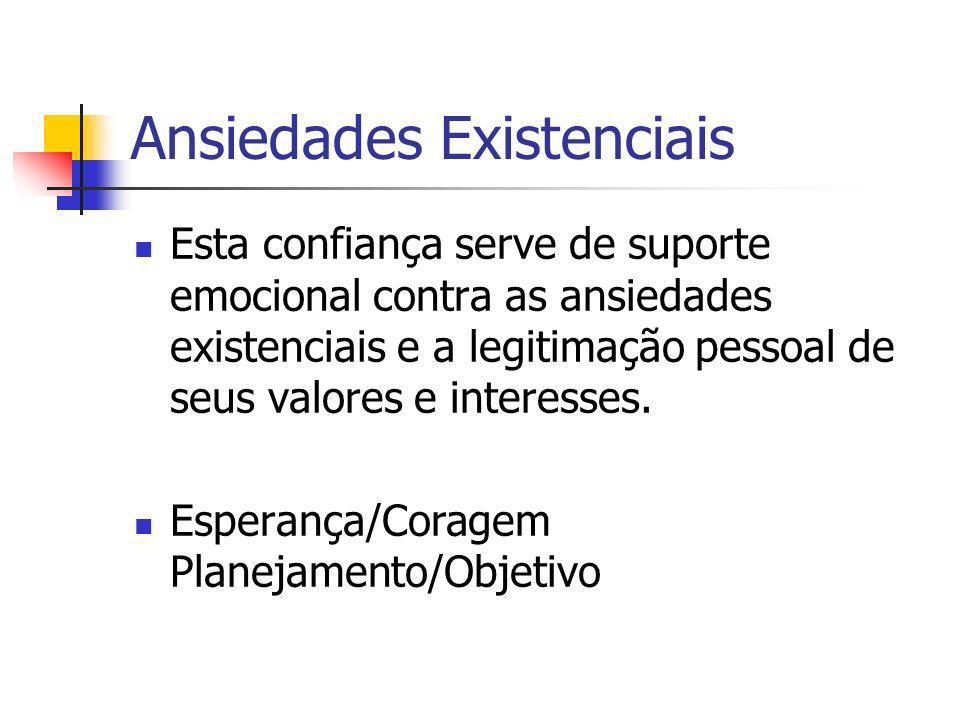 Ansiedades Existenciais Esta confiança serve de suporte emocional contra as ansiedades existenciais e a legitimação pessoal de seus valores e interess
