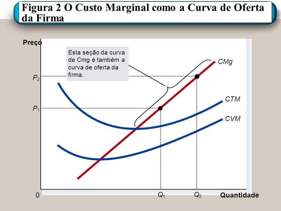 Figura 2 O Custo Marginal como a Curva de Oferta da Firma Quantidade 0 Preço CMg CTM CVM P 1 Q 1 P 2 Q 2 Esta seção da curva de Cmg é também a curva d