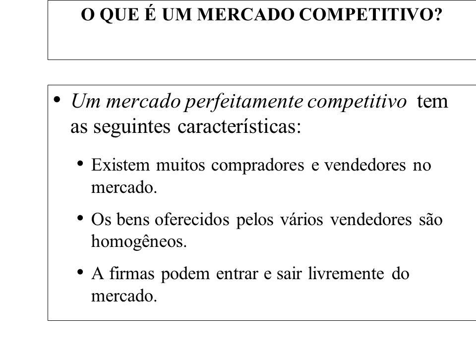 O QUE É UM MERCADO COMPETITIVO? Um mercado perfeitamente competitivo tem as seguintes características: Existem muitos compradores e vendedores no merc