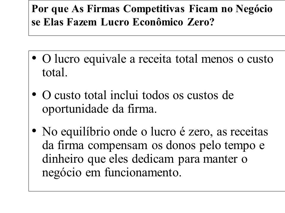 Por que As Firmas Competitivas Ficam no Negócio se Elas Fazem Lucro Econômico Zero? O lucro equivale a receita total menos o custo total. O custo tota