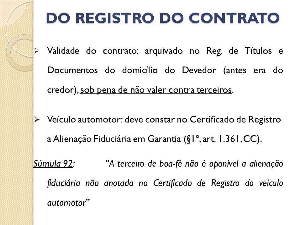 DO REGISTRO DO CONTRATO Validade do contrato: arquivado no Reg. de Títulos e Documentos do domicílio do Devedor (antes era do credor), sob pena de não