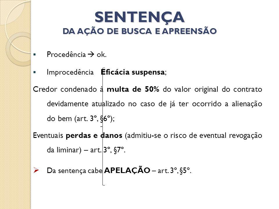 SENTENÇA DA AÇÃO DE BUSCA E APREENSÃO Procedência ok. Improcedência Eficácia suspensa; Credor condenado à multa de 50% do valor original do contrato d