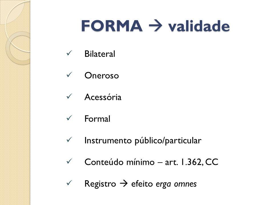 FORMA validade Bilateral Oneroso Acessória Formal Instrumento público/particular Conteúdo mínimo – art. 1.362, CC Registro efeito erga omnes