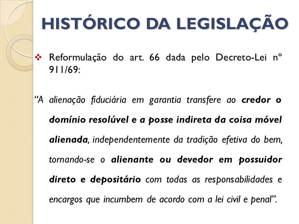 HISTÓRICO DA LEGISLAÇÃO Reformulação do art. 66 dada pelo Decreto-Lei nº 911/69: A alienação fiduciária em garantia transfere ao credor o domínio reso