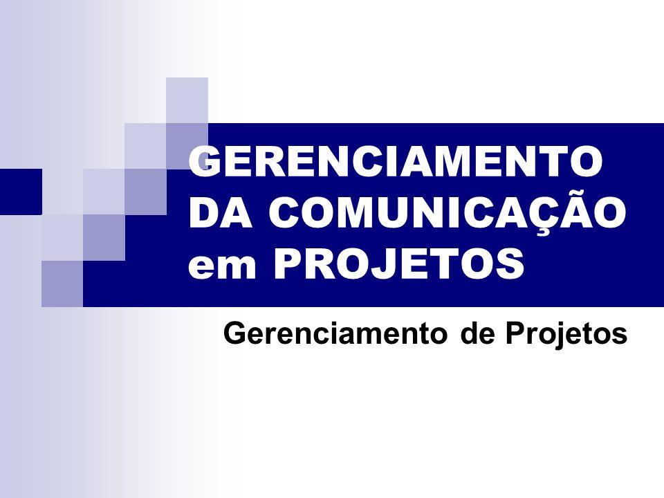 GERENCIAMENTO DA COMUNICAÇÃO em PROJETOS Gerenciamento de Projetos