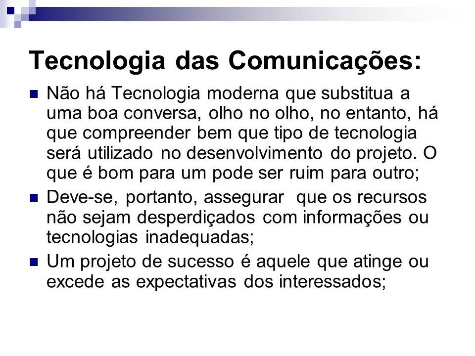 Tecnologia das Comunicações: Não há Tecnologia moderna que substitua a uma boa conversa, olho no olho, no entanto, há que compreender bem que tipo de
