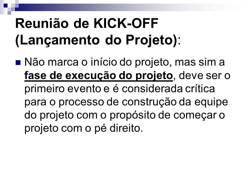 Reunião de KICK-OFF (Lançamento do Projeto): Não marca o início do projeto, mas sim a fase de execução do projeto, deve ser o primeiro evento e é cons